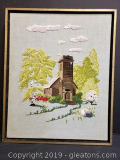 Vintage Hand Stitched Church Framed Wall Decor