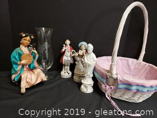 "Basket Lot Of Vintage Colonial Figurines 9"" Tall, Porcelain Japanese"