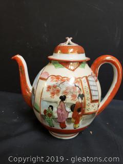 Hand Painted Vintage 19th Centry Japanese Kutani Tea Pot