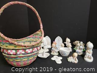 Easter Basket Lot Of Large Collection Of Precious Moments Porcelain Figurines
