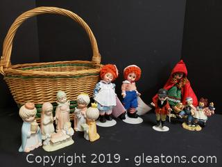 Basket Lot Of Madame Alexander Collectible Dolls