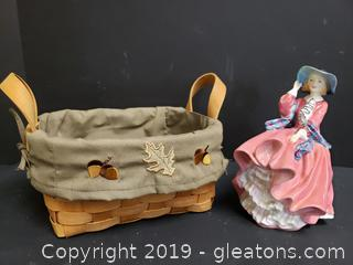 "Royal Crown ""Top Of The Hill"" Porcelain Figurine + Fall Basket"