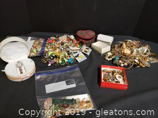 "Large Box Lot Of Vintage Costume Jewelry ""Treasure Box Lot"""