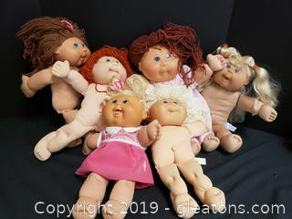 Lot Of (6) Vintage Cabbage Patch Dolls (Used)