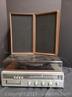 JC Penney Am/FM Eight Track Player And Record/With Top And Speakers