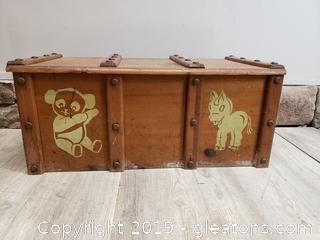 Vintage Wooden Kids Toy Box/Hand Painted/Rope Handles