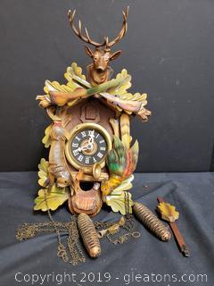 Vintage Wildlife Cuckoo Clock Made In Germany