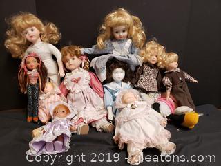 Lot Of Vintage Porcelain Dolls