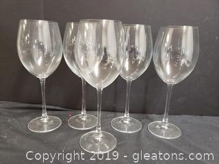 Large Tall Stem Wine Glasses Set Of (5)
