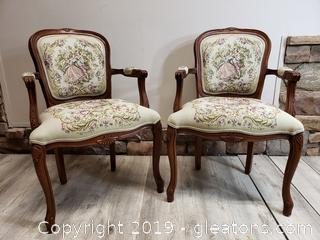 Pair Of Accent Vintage Look Chairs Victorian