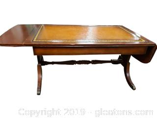 Vintage Mahogany Coffee Table/Drop Sides Table Leather Top/Gold Detail