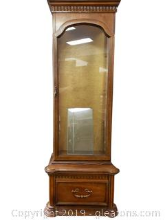 Classic Vintage Manor Pier Curio Cabinet With Bottom Drawer And 160's Lit, Ornate Detail/Glass Shelves