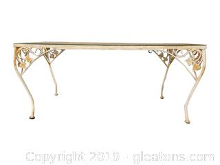 Vintage White Wrought Iron Glass Top Outdoor Coffee Table