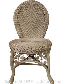 Vintage White Wicker/Vanity Chair