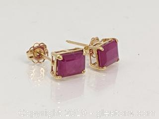 10kt Gold & Ruby Earrings 1.02 gr.