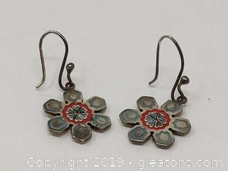 Pretty Flower Earrings Sterling Silver Verified
