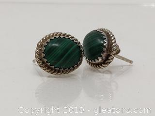 Sterling Silver Malachite Earrings