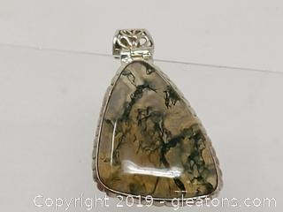 Very Unusual Piece Sterling Silver (Verified) & Stone Pendant Large Ornate Bale