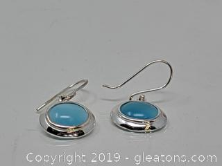 Sterling Silver Earrings Sea Blue Stones