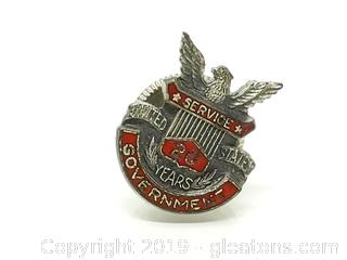 20 Year Government Award Pin Sterling Silver