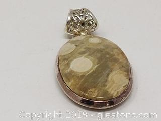 Nice Stone & Sterling Silver Pendant Ornate Bale