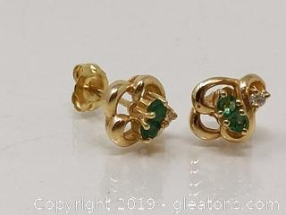 14k Gold Emerald & Diamond Earrings