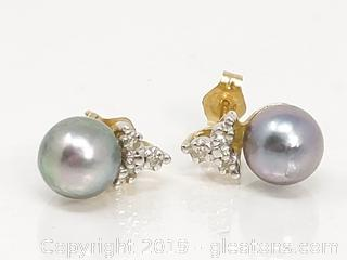 14k Pearl & Diamond Earrings