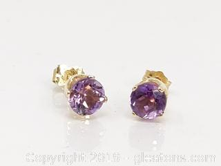 14kt Gold Amethyst Earrings