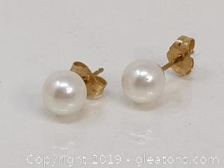 14k + Pearl Earrings