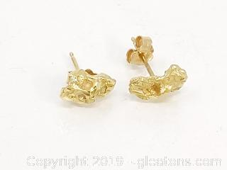 14k Gold Nugget Earrings