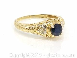 14k Gold Sapphire Diamond Ornate Art Deco Band