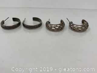 2 Pairs STERLING Silver Hoop Earrings 10.2 Total Grams