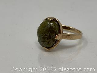 Stone And 10 K Gold Ring