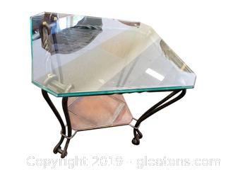 Glass Top/Leather Tile Look/Square Wrought Iron End Table