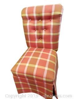 Pair of Decorative Covered Plaid Skirted Accent/Dining Chairs