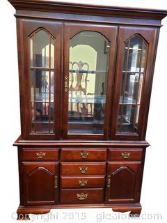 (2) Piece China/Hutch Glass Doors/Glass Shelves With Inside Light