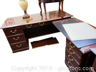 Wood Nice Office Desk With Side Piece/With Mat For Top Black Leather