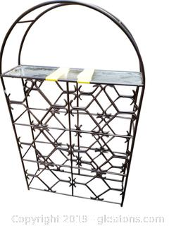 Very Nice Decorative Black/Glass Wrought Iron Wire Rack/Wall Mount With Hangers