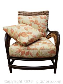 Unique Wicker Style/Vintage Chair With Cushions + Extra Throw Pillow