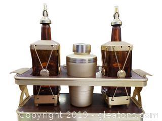 Antique Cocktail Set Swiss Musical Alcohol Decanter/Cocktail Shaker/Shot Glasses