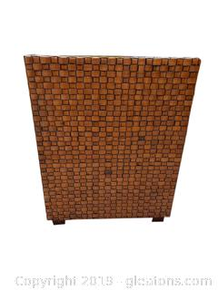 Very Cool Square Wicker Look Side Table/Accent Table With Thick Glass Top
