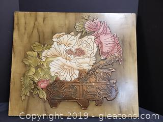 Wood, Floral Wall Decor
