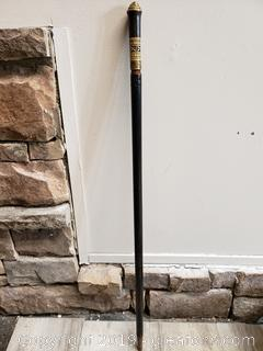 Antique Hand Carved and Brass Cane Sword