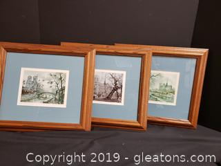Set Of (3) Wood Framed Matted Watercolors Of Paris SIGNED