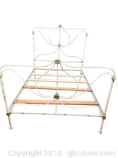 Antique Double Iron Bed With Rails And Slats