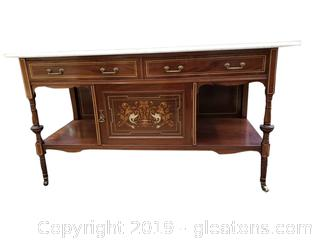 Beautiful Antique Victorian Inlaid Marble Top Buffet - Great Condition