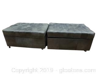 PR Of Leather Rolling Ottoman's With Storage