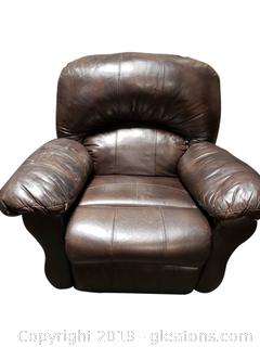 Large Brown Leather Recliner