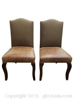 PR Of Leather Bottom Dining Chairs