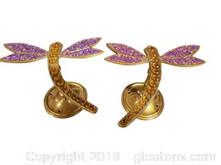 Brand New Brass/Beaded/Glass Dragonfly Wall Holders